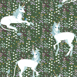 A Unicorn Meadow in Dark Kale