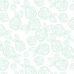 Tea Roses in Mist Green on White