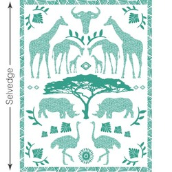 Zambezi Quilt Panel in Jade