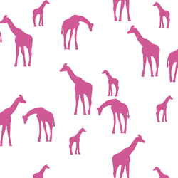 Giraffe Silhouette in Petunia on White