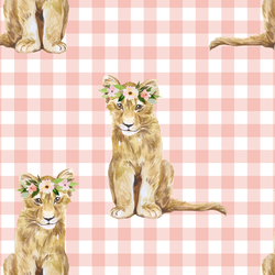 Girl Cub on Gingham Check in Pink Peach
