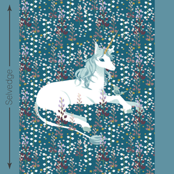 Unicorn Quilt Panel in Dark Topaz