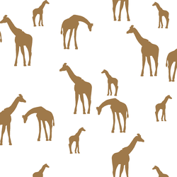 Giraffe Silhouette in Ochre on White