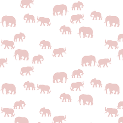 Elephant Silhouette in Blush on White