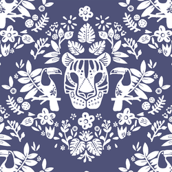 Costa Rica Damask in Indigo