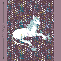 Unicorn Quilt Panel in Raisin