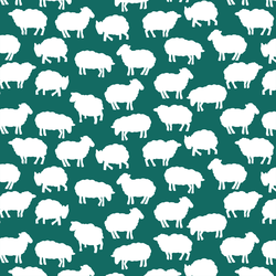 Sheep Silhouette in Emerald