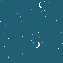 Moon and Stars in Teal