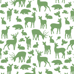 Forest Friends in Pistachio on White