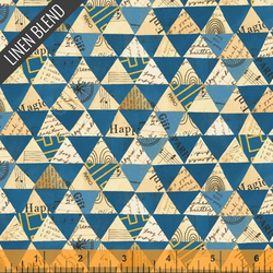 Collaged Triangles Linen Cotton in Peacock