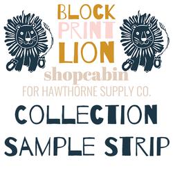 Block Print Lion Sample Strip