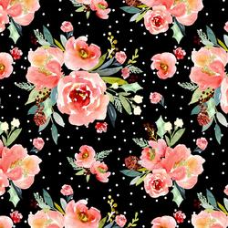 Snowberry Floral in Black
