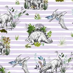 Dinoland in Light Lilac Stripes