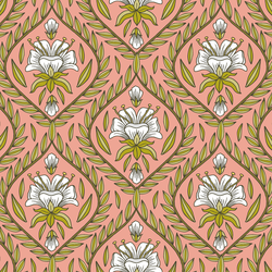 Floral Vine in Warm Pink