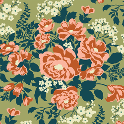 Rose Bouquet in Forest Green