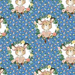 Large Dainty Floral Baby Girl Kangaroo in Bright Blue