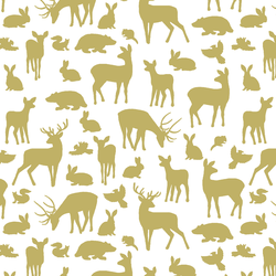 Forest Friends in Brass on White