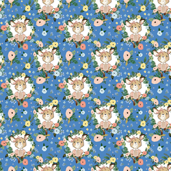 Floral Girl Kangaroo in Bright Blue