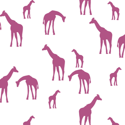 Giraffe Silhouette in Azalea on White