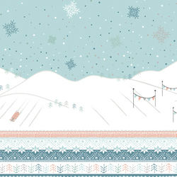 Sleigh Ride Border in Glacier Blue
