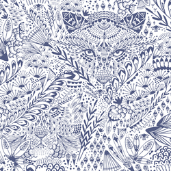 Hide and Seek in Indigo on White