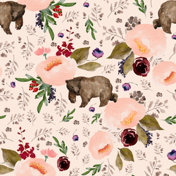 Floral Bear in Soft Peach