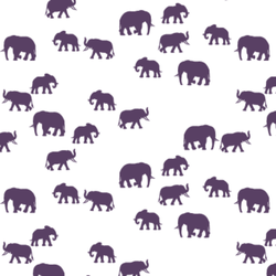 Elephant Silhouette in Aubergine on White