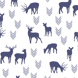 Deer Silhouette in Indigo on White