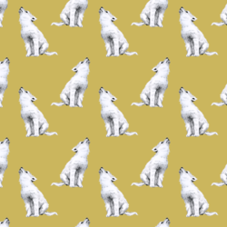 Little Arctic Wolf in Antique Brass