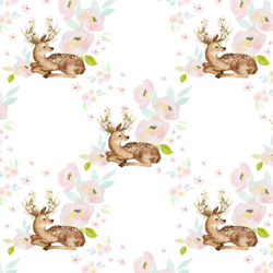 Blush Floral Deer in Garden