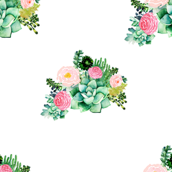 Floral Succulents in White