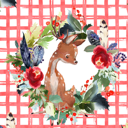 Boho Winter Deer in Peppermint Plaid