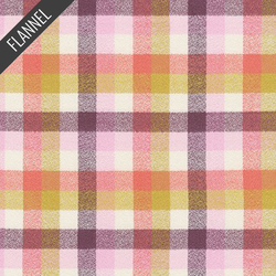 Mammoth Organic Colorful Check Flannel in Honeysuckle