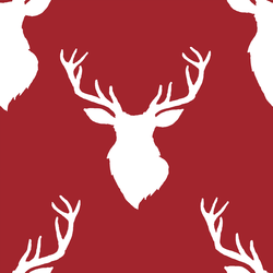 Deer Silhouette in White on Berry Red