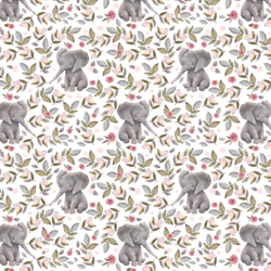 Little Floral Baby Elephant in Grey