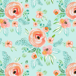 Small Summer Florals in Light Sea Breeze