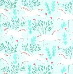 Unicorn Forest Flannel in Aqua