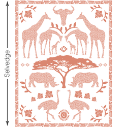 Zambezi Quilt Panel in Desert Rose