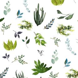 Watercolor Plants in White