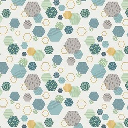 Fossil Hexagon in Cream