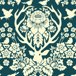Antler Damask in Ivory on Deep Pool