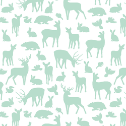 Forest Friends in Mint on White