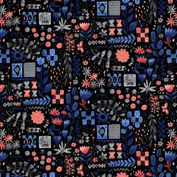 Tiles and Flowers in Pink Black Multi