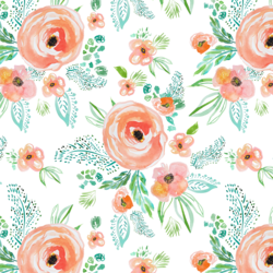 Small Summer Florals in Coral