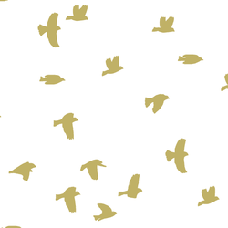 Flock Silhouette in Brass on White