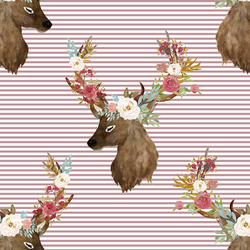 Autumn Deer in Antique Rose Stripes