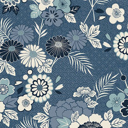 Floral Montage in Blue