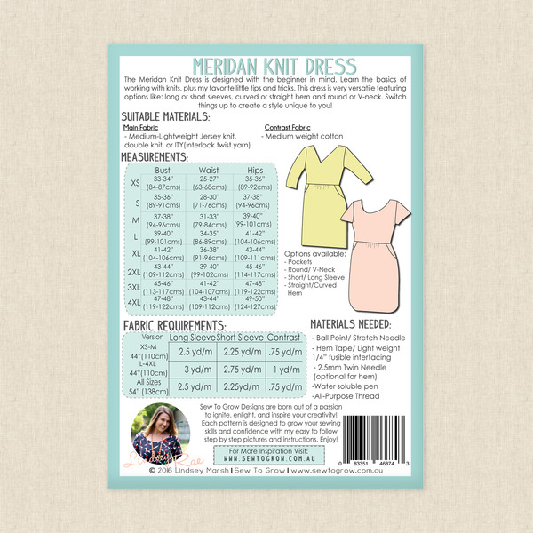 Meridan Knit Dress Sewing Pattern by Sew To Grow at Hawthorne Supply Co