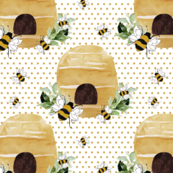 Busy Beehive in Honeycomb Polka Dots