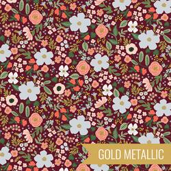 Wild Rose in Burgundy Metallic